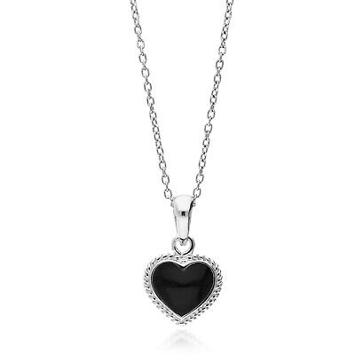 Sterling Silver Whitby Jet Rope Edge Heart Pendant  • 45£