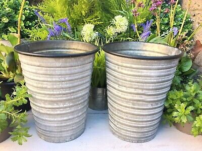 Set 2 Tall Vintage Style Grey Large Round Metal Garden Planters Flower Pots Tubs • 21.99£