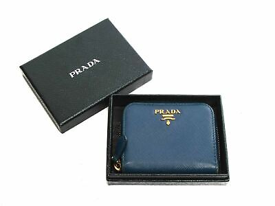 Authentic Prada Saffiano Blue Leather Zip Around Coin Wallet • 189.56£