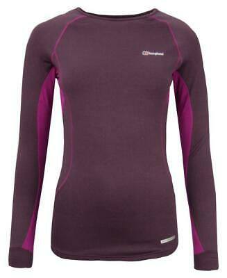BERGHAUS Women's Long Sleeve THERMAL CREW TOP - Base Layer - Dark Red - NEW • 18£