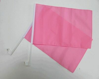 PLAIN PINK Car Window Flag 2 Pack.  FREE UK Delivery! • 11.99£