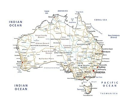 AU23.90 • Buy Australia Map Highly Detailed Educational Premium Poster Print Choose Your Sizes