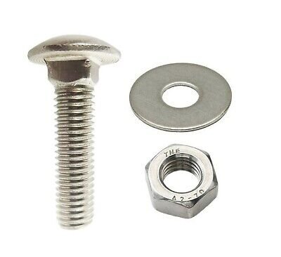 A2 Stainless M5 Coach Bolts With Nuts And Washers Various Lengths And Quantity • 2.65£