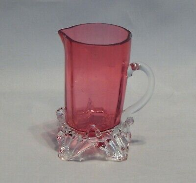 $16 • Buy Antique Cranberry Glass Small Pitcher With Applied Handle And Feet