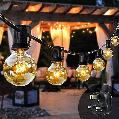 50 FT Outdoor Festoon Globe String Fairy Lights G40 Bulbs Garden Wedding Home • 25.99£
