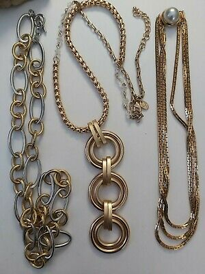 $ CDN18 • Buy Vintage Chunky Strong Chain Goldtone Statement Necklaces Lot