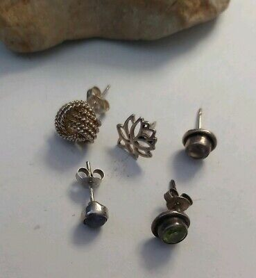 $ CDN11 • Buy Sterling Silver ALL SINGLES Stud Earrings Lot  Peridot Amethyst