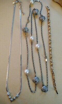 $ CDN27 • Buy Vintage Avon Jewelry Necklaces Bracelet Lot Long Layering Faux Pearls Crystals