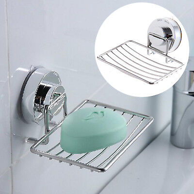 Strong Suction Bathroom Shower Chrome Accessory Soap Dish Holder Cup Tray • 5.79£