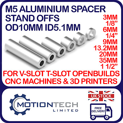 £9.15 • Buy M5 Aluminium Stand Off Spacer V-slot Anodized OD10 X ID 5.1mm CNC 3D Openbuilds