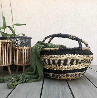 Natural Style Woven Rush Basket Round Planter Flower Pot Plant Storage Container • 19.99£