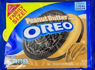 NEW NABISCO FAMILY SIZE OREO PEANUT BUTTER CREME SANDWICH COOKIES 17OZ 482g PACK • 11.20£