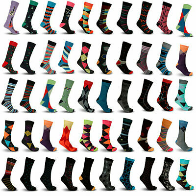 $7.99 • Buy Mystery Deal: Men's Colorful Stylish Fun Funky Dress Socks,Assorted Patterns LOT