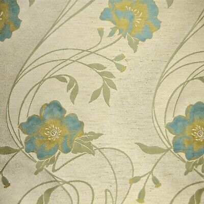 Art Nouveau Style Floral Duck Egg / Teal / Gold Fabric GREAT FOR CURTAINS ETC • 9.99£