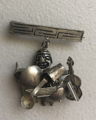$ CDN16.28 • Buy Vintage Silver Tone Pin Brooch Moveable Parts Man Holding Wares To Sell Guitar