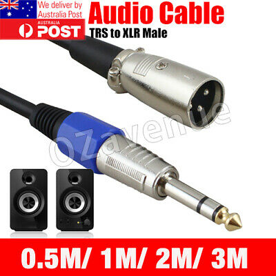 AU9.95 • Buy Balanced Male XLR To TRS 1/4  6.35mm Microphone Stereo Jack Cable Lead AU