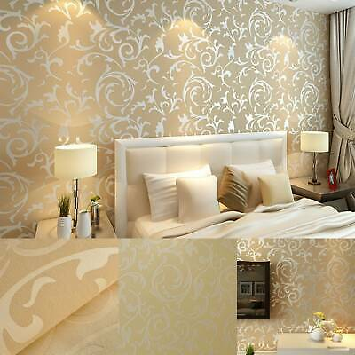 3D Luxury Gold Damask Embossed Wallpaper Rolls Feature TV Background Décor UK • 6.75£
