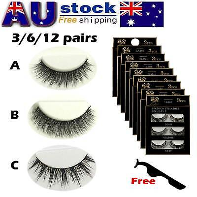 AU9.99 • Buy AU Stock 12 Pairs 3D Natural Long Thick Makeup Eyelashes Cross False Eye Lashes