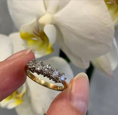 Five Stone Diamond Ring In 18ct Yellow And White Gold Size N1/2 • 895£
