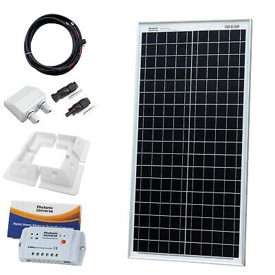 £137.99 • Buy 40W 12V Solar Panel Charging Kit With 10A Controller, Brackets And Cables