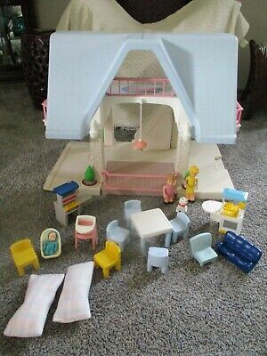 $85 • Buy VINTAGE Little Tikes Blue Roof Doll House With Accessories Good Used Condition