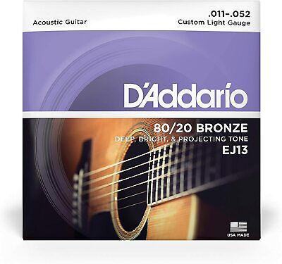 $ CDN7.39 • Buy D'Addario EJ13 80/20 Bronze Custom Light Acoustic Guitar Strings