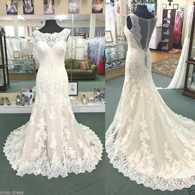 $ CDN154.15 • Buy Mermaid Wedding Dresses Cap Sleeve Bridal Gowns Appliques Cap Sleeve Custom Made