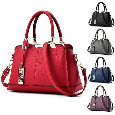 Womens PU Leather Handbag Briefcase Shoulder Bag Tote Ladies Medium Work Bags • 13.89£