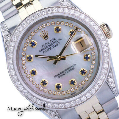 $ CDN8864.86 • Buy Rolex Datejust Mens 18KY/SS 36mm White MOP Diamond-Sapphire Bezel & Lugs Watch