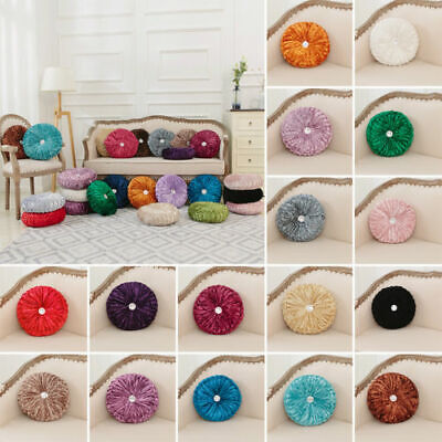 New Crushed Velvet Cushion Round Square Filled Smal& Large Stitched With Diamond • 11.99£