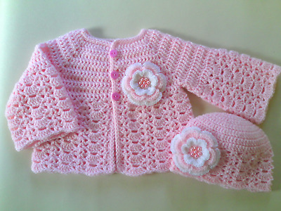 Crochet PATTERN Baby Cardigan And Hat. PDF Pattern To Email Or Post Pattern (48) • 1.59£