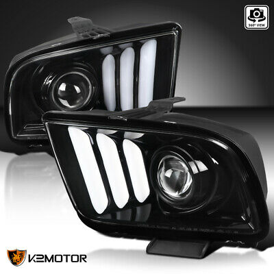 $305.38 • Buy Fits 2005-2009 Ford Mustang Jet Black Projector Headlights Lamp W/ LED Strip Bar