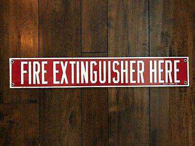$ CDN110 • Buy Vintage Original Porcelain 'Fire Extinguisher Here' Sign, From Safety Supply Co.