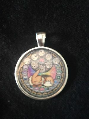 Kingdom Hearts Themed Stained Glass Necklace Keyring Pokemon Eevee • 2.99£