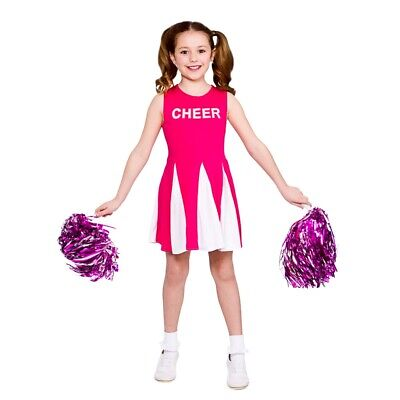 £10.95 • Buy Child HIGH SCHOOL CHEERLEADER PINK Musical Fancy Dress Costume Ages 3-13 Years