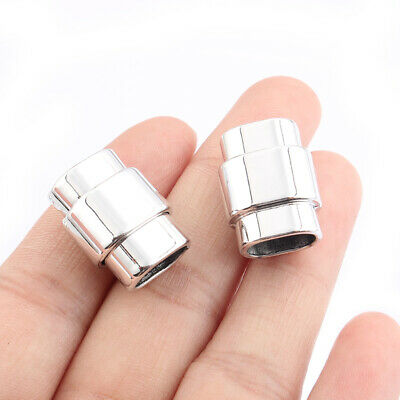 5Sets Silver Plated Strong Magnetic Clasp Fit 10*6mm Licorice Leather Bracelet • 3.99£
