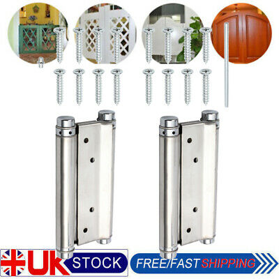 1 Pair Double Action Spring Swing Door Gate Saloon Kitchen Hinges Silver 6INCH • 16.22£