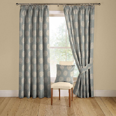£69.95 • Buy Montgomery Pom Pom Duck Egg Fully Lined Pencil Pleat Curtains