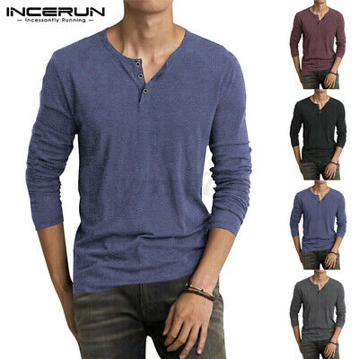 Men's Casual Long Sleeve T-shirt Tee Henley Grandad Collarless Button Shirt Top • 10.99£
