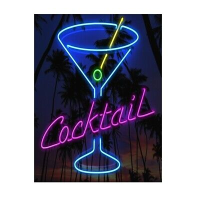 £5.14 • Buy METAL WALL SIGN  PLAQUE Neon Cocktail Drinks Kitchen Bar Cafe Home Man Cave