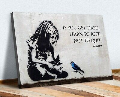 Banksy Girl Blue Bird Quote Learn To Rest Canvas Wall Art Print Artwork Graffiti • 12.99£