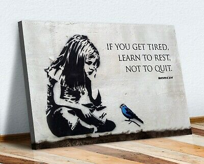 £12.99 • Buy Banksy Girl Blue Bird Quote Learn To Rest Canvas Wall Street Art Print Graffiti