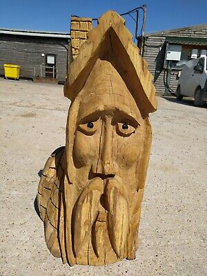 Sale Sussex Chainsaw Wood Carving Greenman  Garden Rustic Sculpture Decoration • 180£