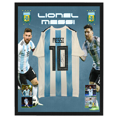 AU1495 • Buy Lionel Messi Signed And Framed Argentina Soccer Jersey Maradona Di Maria Cavani
