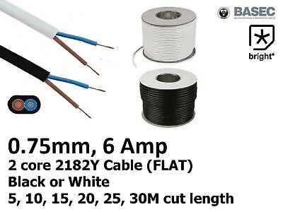 £2.77 • Buy 6 Amp 0.75mm Flat Cable Flex 2 Core 2192Y Black White Electrical Wire Light