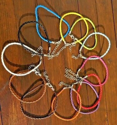 Braided Love Charm Pu Leather Bracelet Cords With Lobster 21cm Clasp • 0.99£