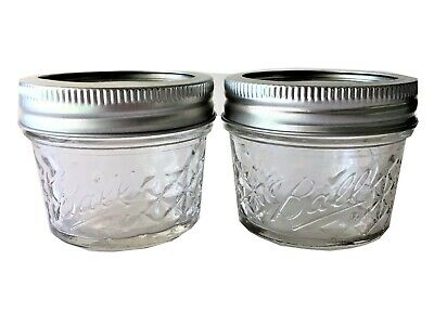 $5.85 • Buy Ball Mason Jar Jelly Jars 4 Oz. Quilted Crystal Reg Mouth-Lot Of 2