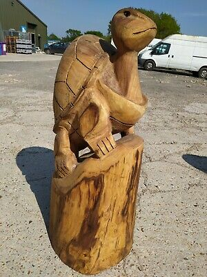 Sussex Chainsaw Wood Carving Turtle  Garden Rustic Sculpture Decoration  • 280£