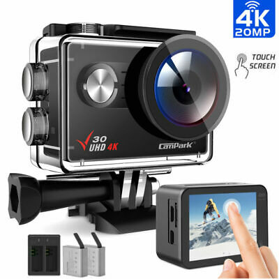 Campark V30 Action Camera 4K 20MP WiFi Touch Screen Underwater 40M Sport Cam UK • 59.42£