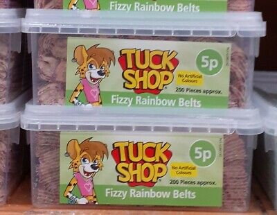 Tuck Shop Fizzy Rainbow Belts 2 X 200  Tub Sweets (price Marked) • 35.99£